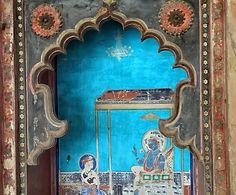 Painted niche in Bundi Palace, India