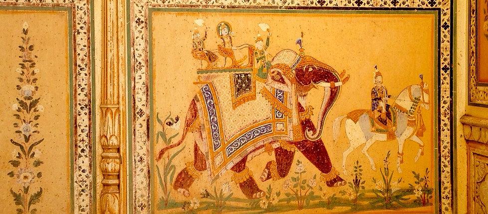 Tiger Fort Palace, Jaipur. Panel detail
