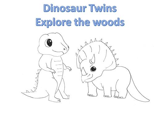 Dinosaur Twins Explore the Woods