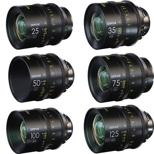 DZO FILM VESPID 6 LENS KIT 25mm, 35mm, 50mm, 75mm, 100mm, 125mm PL Mount