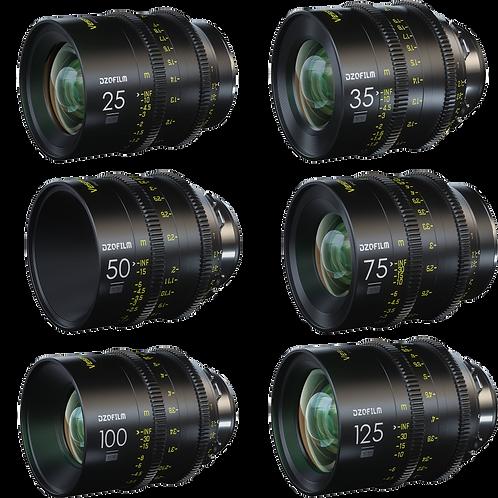 DZO FILM VESPID 6 LENS KIT 25mm, 35mm, 50mm, 75mm, 100mm, 125mm PL Mount