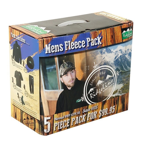 Ridgeline Mens 5 Piece Fleece Pack Olive/Black L
