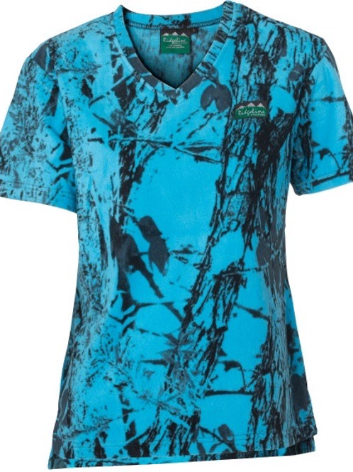 RIDGELINE WOMENS RIBBONWOOD FLEECE TEE Blue camo