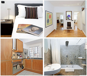 Collage of interior pictures.