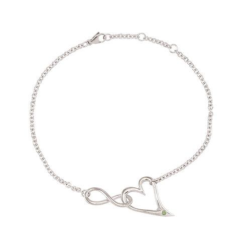 Unique InfiniteLoove bracelet - 14k white gold with green diamond
