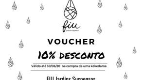 VOUCHER 10% de desconto na compra de uma ou mais kokedamas FIU Jardins Suspensos