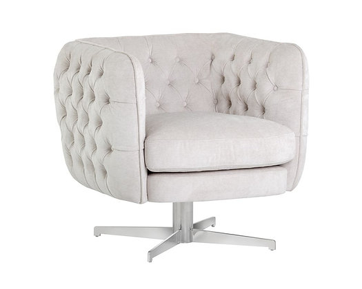 SUNPAN DARLA SWIVEL LOUNGE CHAIR-POLO CLUB MUSLIN