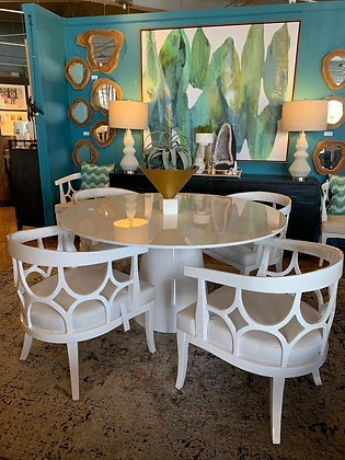 Hamilton White Lacquer Dining Table & Chairs Set (7pc)