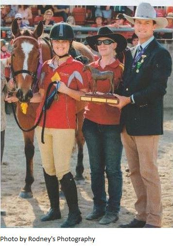 Pictured is Elton with rider Bianca Fry, coach Tanya Boye and Chief Steward James Bell with the beautiful Mary Pinsent trophy.