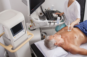Echocardiogram being performed on a patient