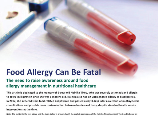 Food Allergy Can be Fatal | CN article, October 2018