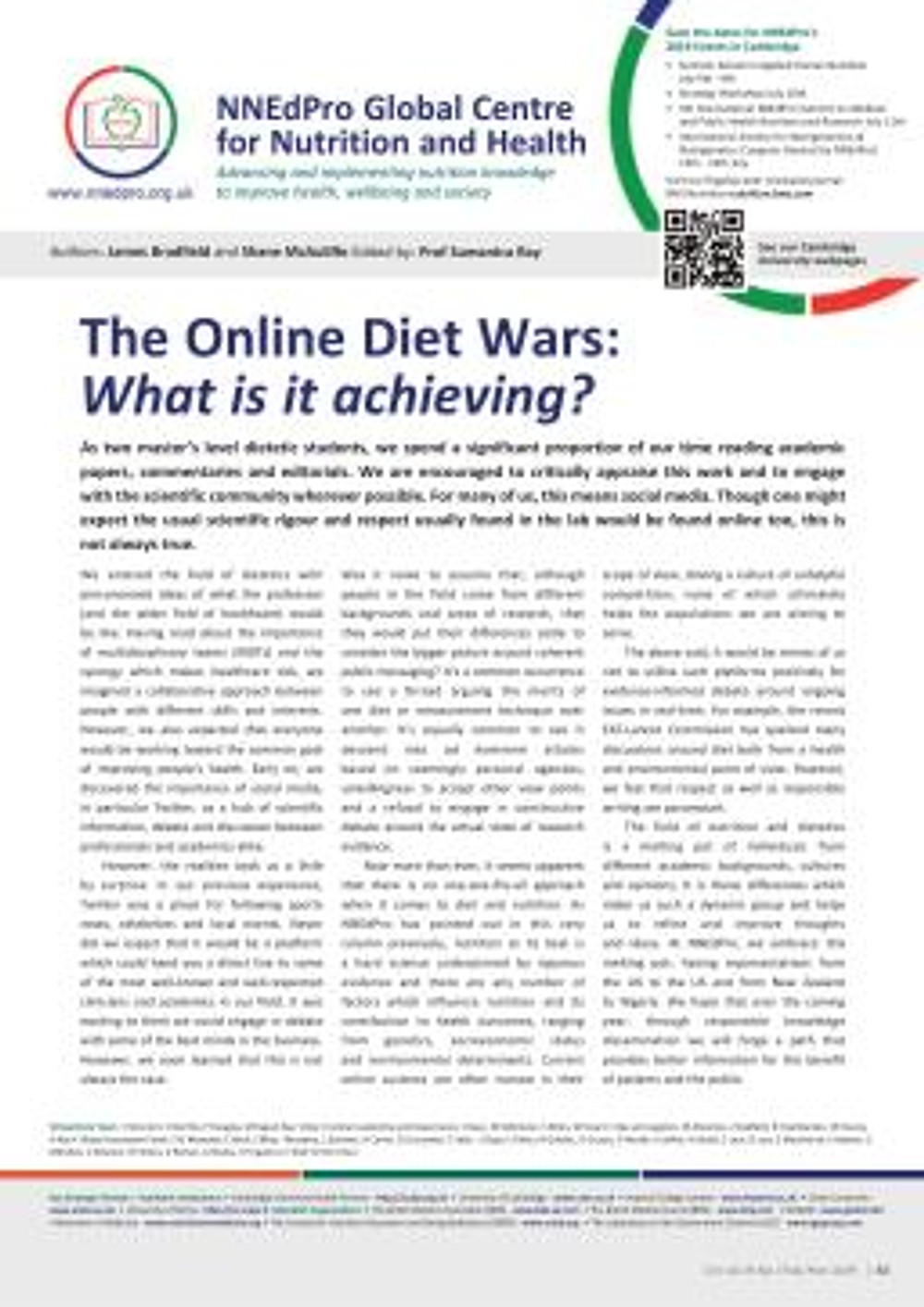 Online Diet Wars - NNEdPro article in CN