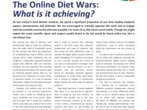 The Online Diet Wars: What is it achieving?| CN article, February 2019