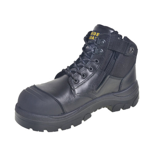 690BZ - 6INCH BLACK STEEL TOE ZIP / LACE UP BOOT