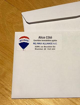 Étiquettes d'adresse de retour autocollantes personnalisées