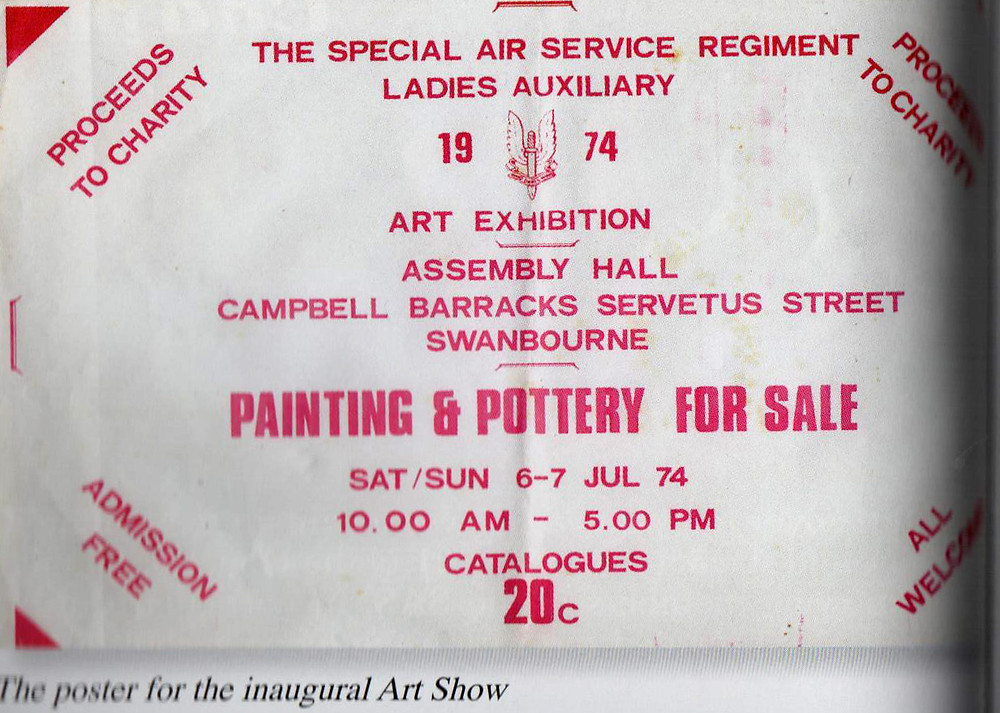 Historical image of Army Art ticket from exhibition of artwork held at Campbell Barracks