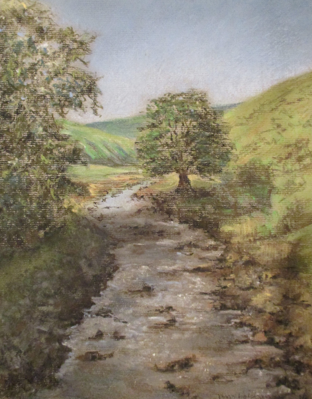 Pastel painting Yorkshire Stream by art therapist Janice Lobban