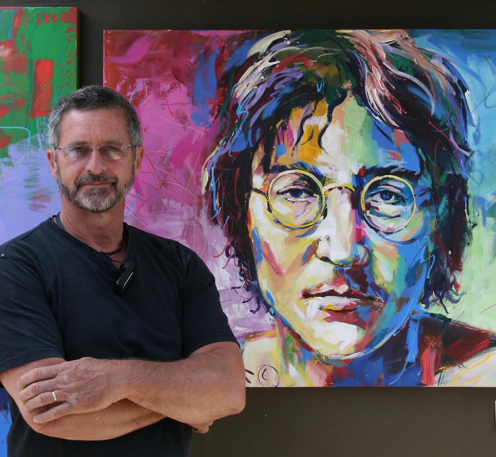Jos Coufreur with portrait John Lennon