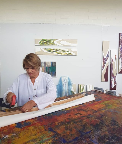 Artist Carol Rowling at work in Studio in North Perth