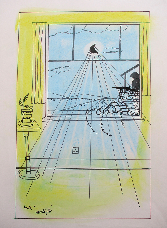 Painting, illustration veteran artist Combat Stress