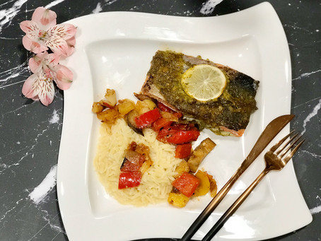 Asian style Salmon with Mixed Veggies over Buttered Orzo