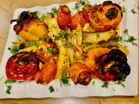 Greek Stuffed Peppers and Tomatoes. (Gemista)