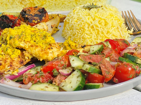 Persian Chicken Over Buttered Saffron Rice