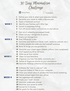 photo regarding 24 Day Challenge Printable Guide titled 30 Times towards Minimalism + Printable Specialist