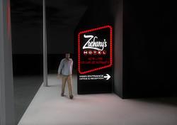 Zachary's Motel Concept 2 Street Sign Night