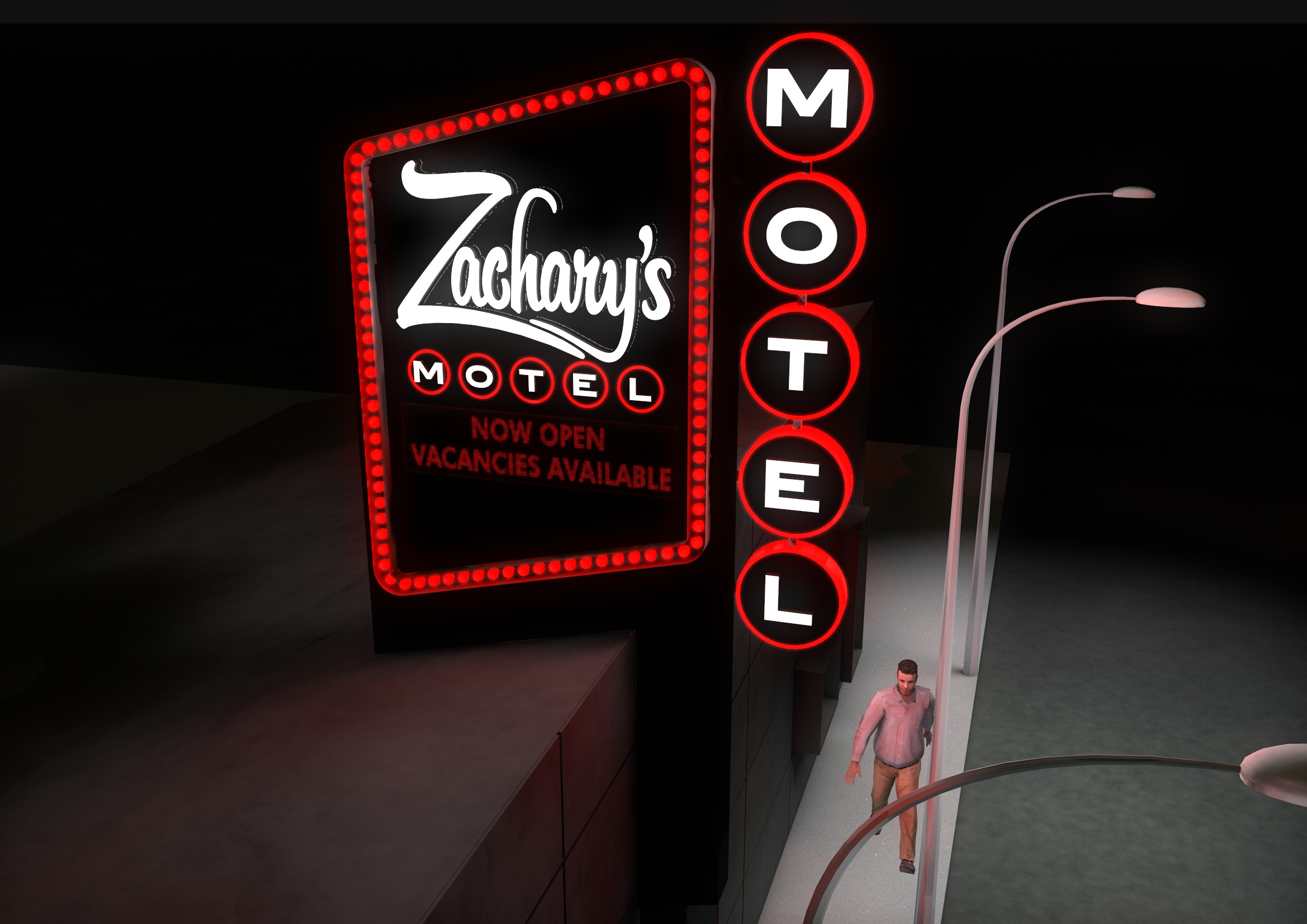 Zachary's Motel Concept 2 Street Close Up Night