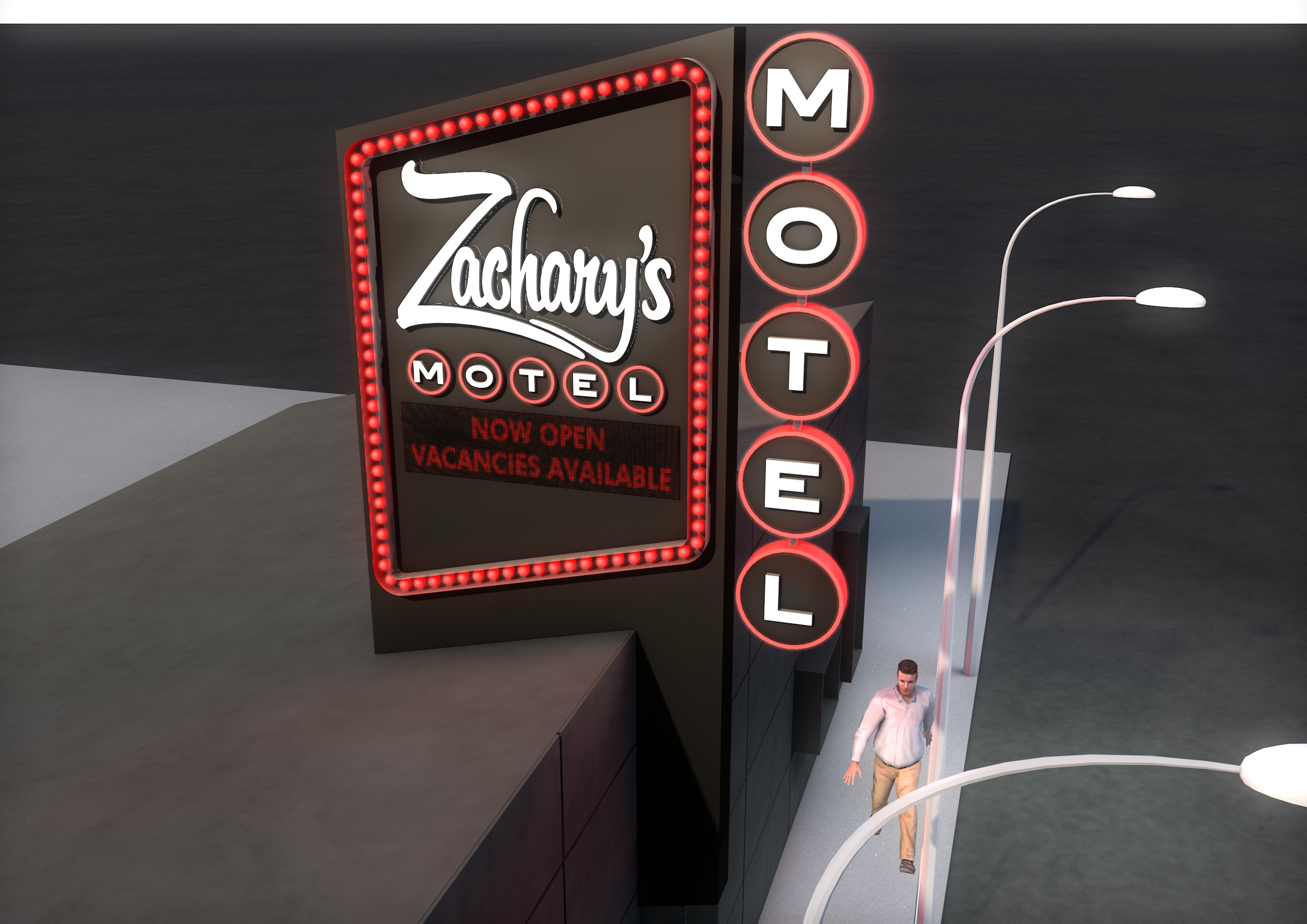Zachary's Motel Concept 2 Street Close Up Day