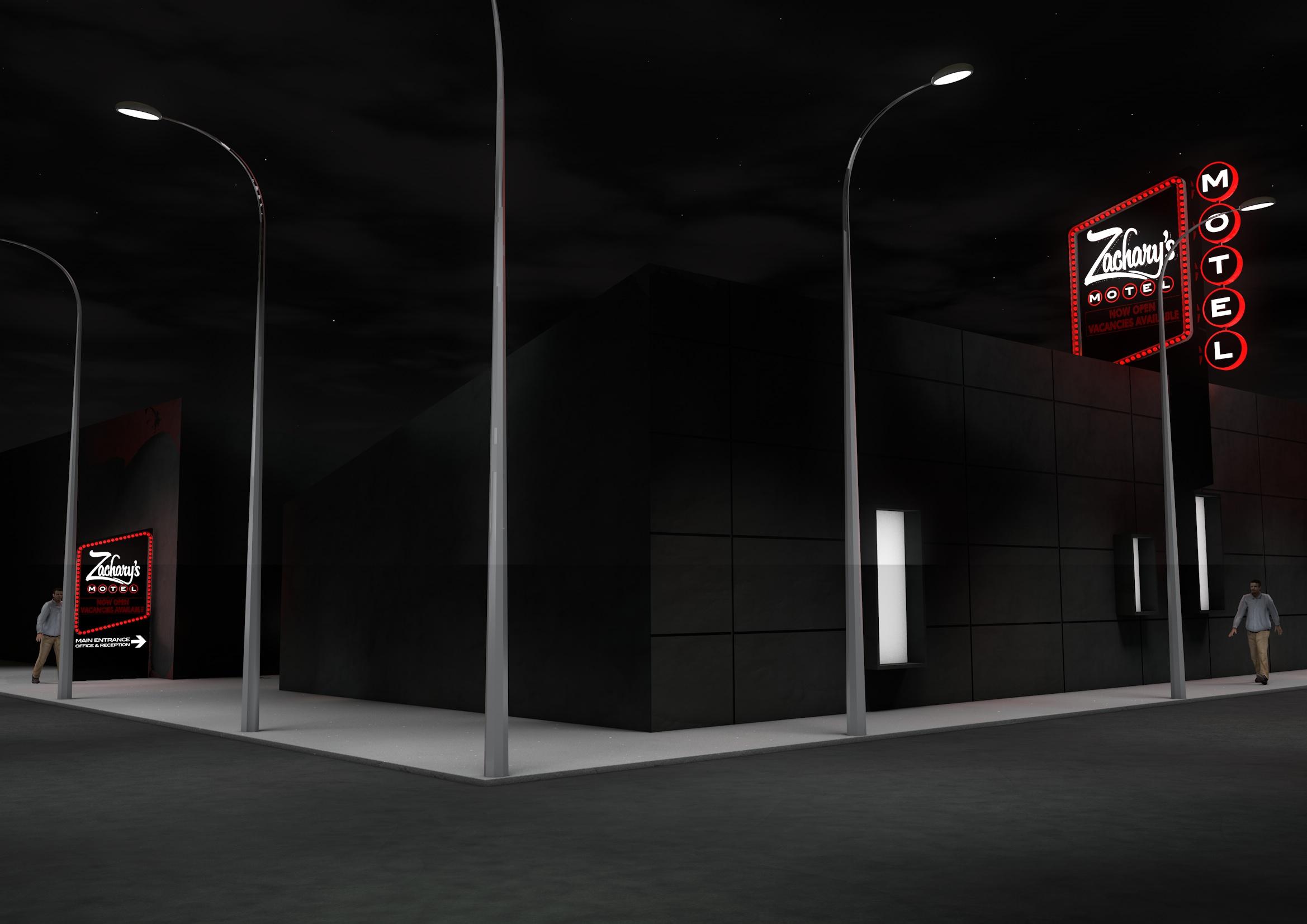 Zachary's Motel Concept 2 Street Night