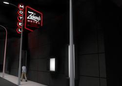 Zachary's Motel Concept 2 Street Rear Night