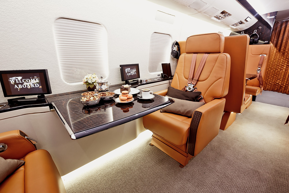 Light snacks aboard a business jet