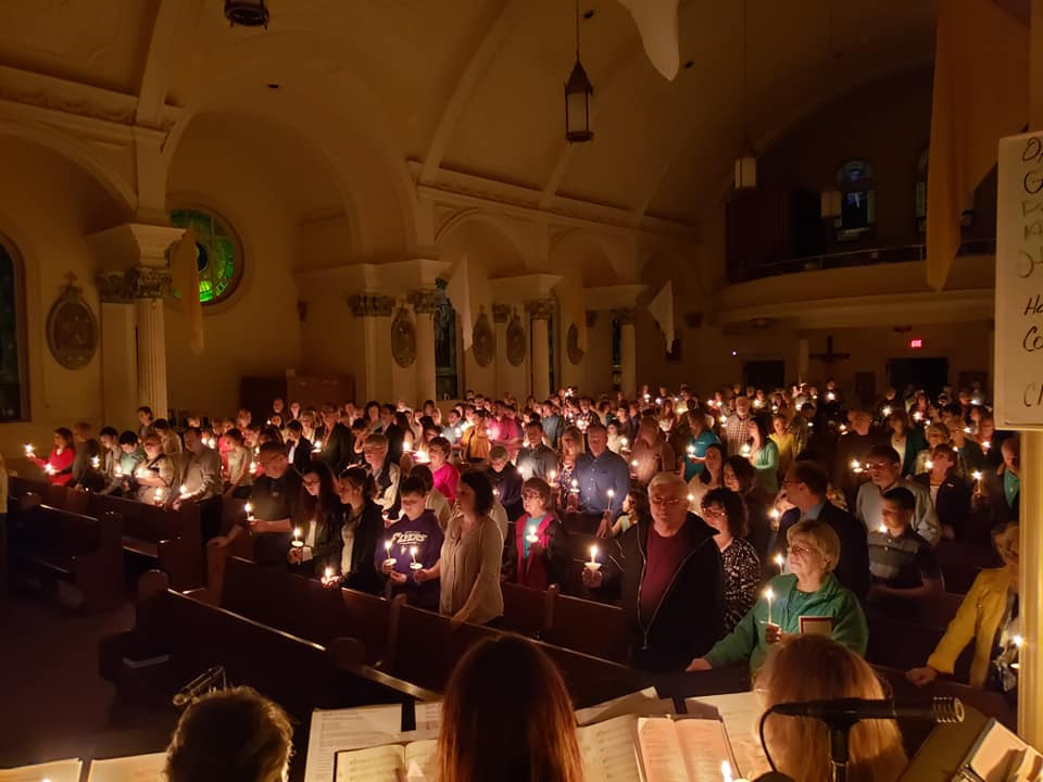 Easter vigil at Our Lady of Lourdes