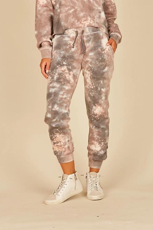 Khaki/Charcoal Galaxy Tie Dye Burnout Joggers
