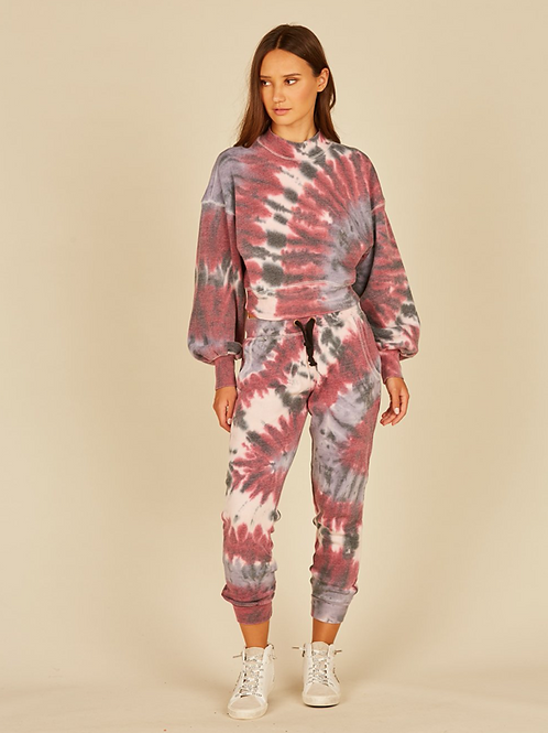 Burgundy/Pink Tie dye Vortex Joggers