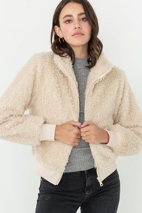 Soft Fur Bomber Jacket