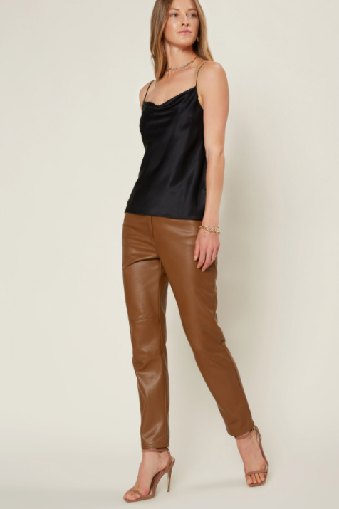 Faux Brown Leather Pants