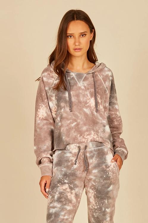 Khaki/Charcoal Galaxy Tie Dye Crop Burnout Hoodie
