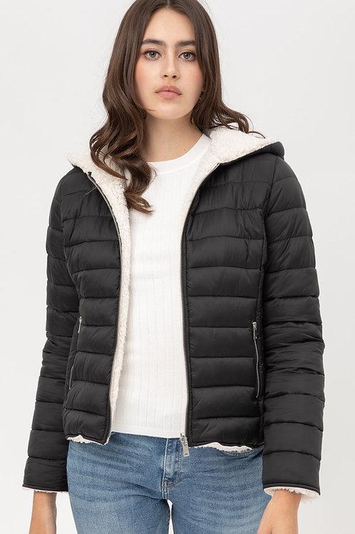 Reversible Faux Sherpa Fleece Puffer Hooded Jacket