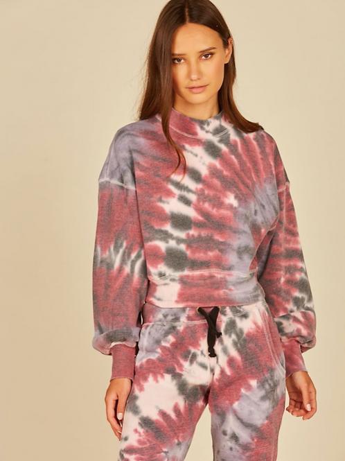 Burgundy/ Pink Vortex Tie Dye Mockneck Crew