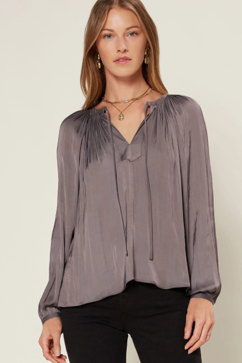 Split Neckline Pleated Blouse