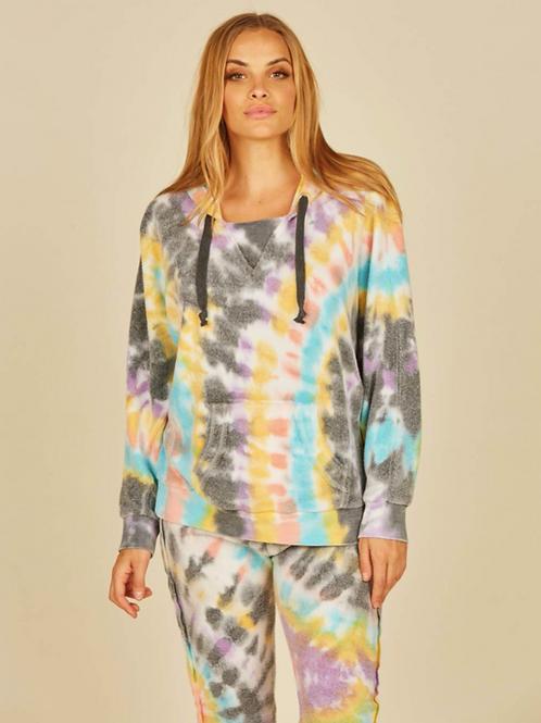 Multi Swirl Tie Dye Reverse Burnout Fleece Hoodie