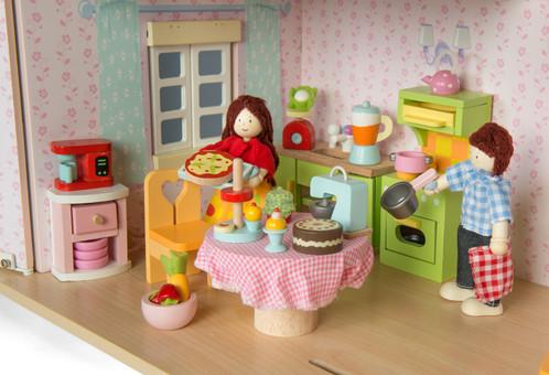 Make Bake Kitchen Wooden Dolls House Accessories Le Toy Van