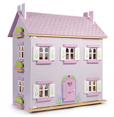 Traditional Wooden Lavender House Dolls House ...