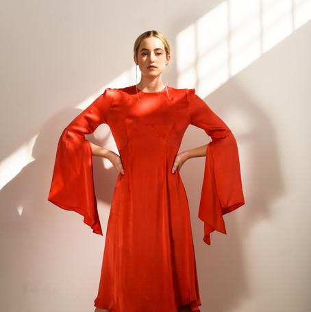 The Vida dress in Lava Red