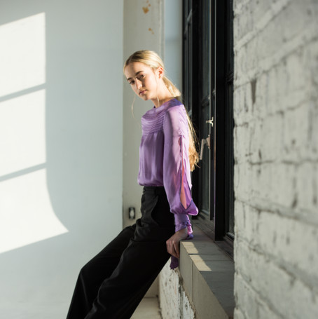 The powell blouse in Lavender