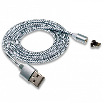 """Кабель USB """"WALKER"""" C590 для Apple магнитный, с индикатором, в мат.обмотке (2.4А"""
