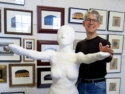 Matt Marcontell dances with a plaster cast of his dancer wife Rebecca